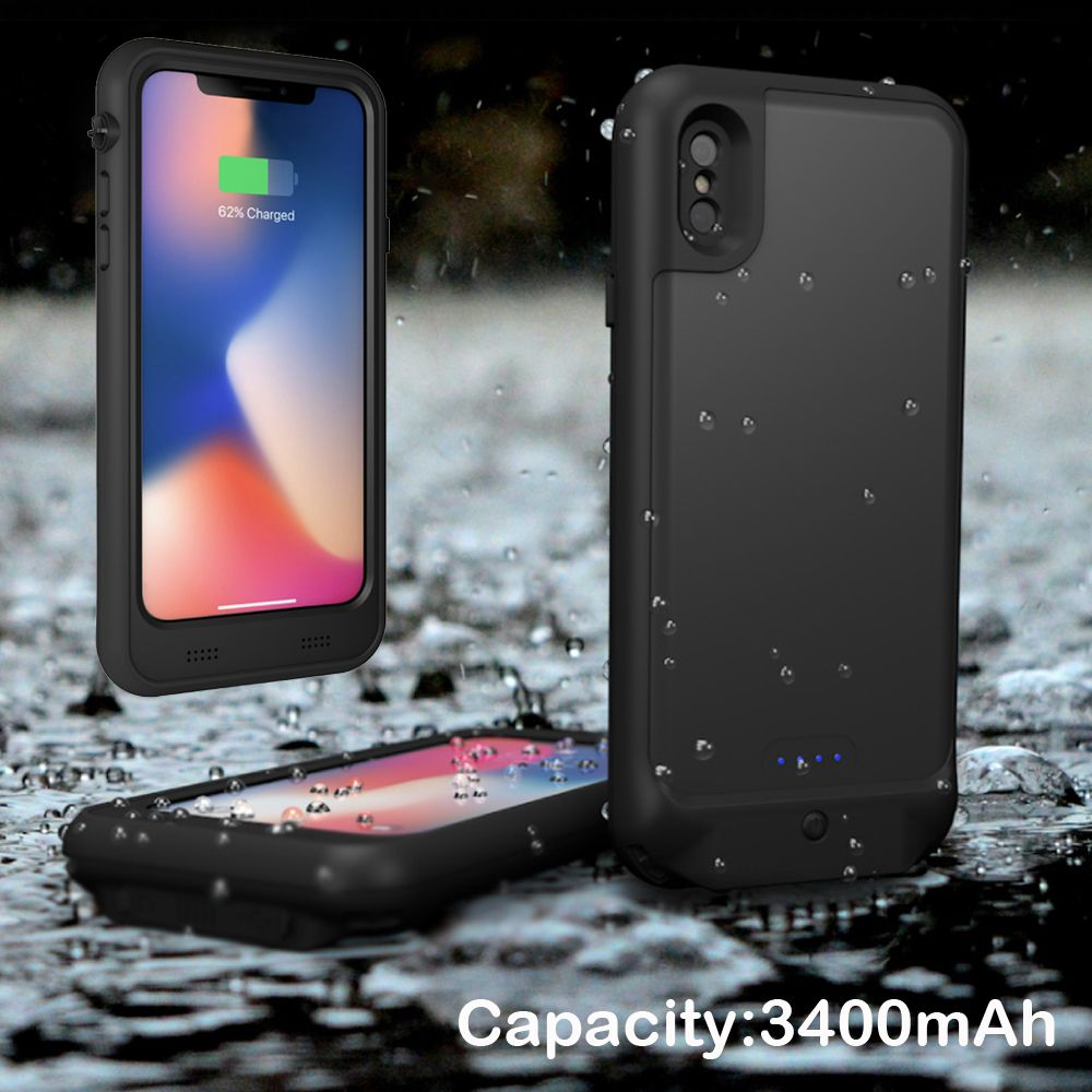 External Wireless 3400mAh Waterproof Diving Snowproof Power Back Pack Battery Charger Adapter Case For iPhone X 10