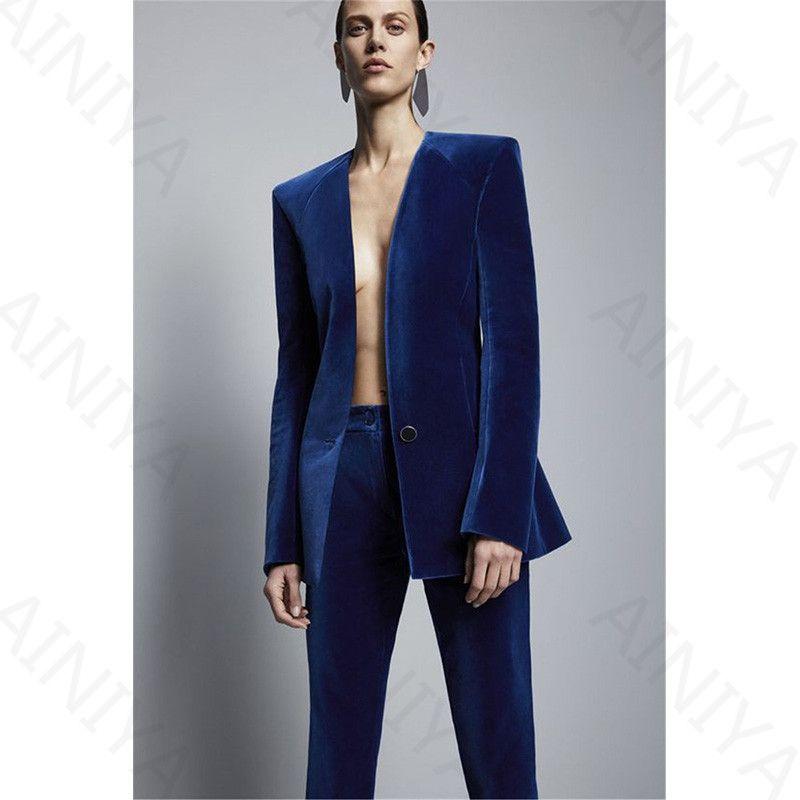Blue Royal Velvet Jacket + Formal Pants Trousers Stylish Business Suit Business Women Slim Fit Suits Women's Office Uniform 2