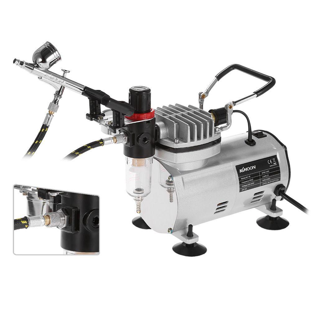 Spray Gun Airbrush Kit with Compressor Dual-Action Hobby Sandblaster Air Brush Nail kit Tattoo Art Paint Supply + Cleaning Brush