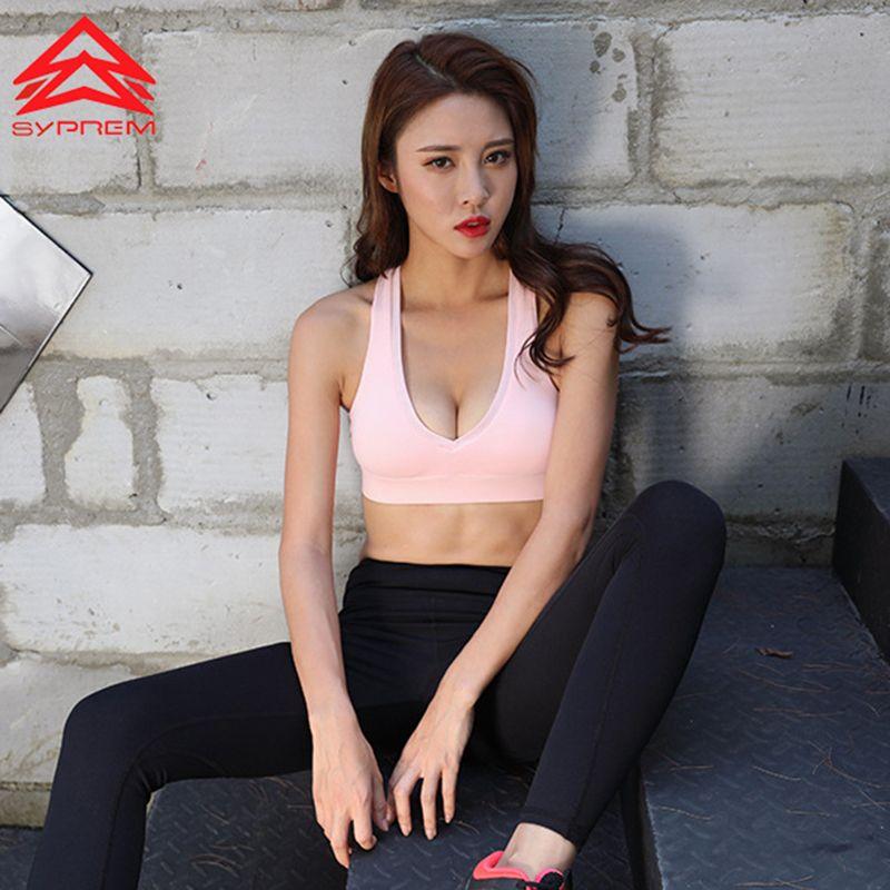 Syprem Deep V Sexy Women Yoga Bra 2018 New Style Running Fitness Shockproof Padded Push Up Vest Net Yarn Splice Straps Bras,0539