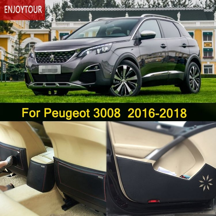Car  Pads  Front Rear Door  Seat Anti-kick Mat  Car-styling Accessories For Peugeot 3008 2016 2017 2018