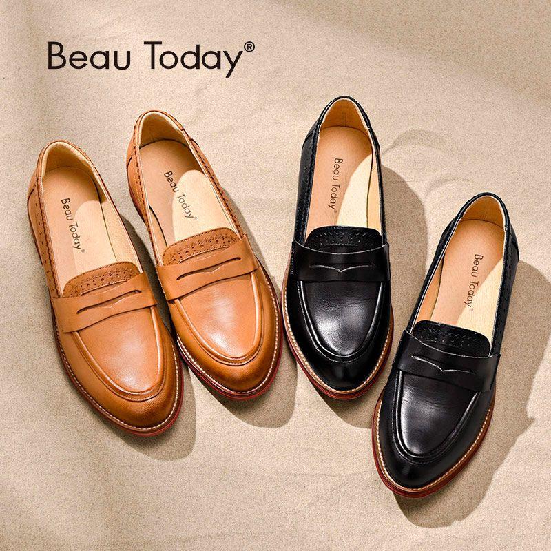 BeauToday Penny mocassins femmes en peau de mouton mocassin en cuir véritable sans lacet bout pointu appartements grande taille chaussures à la main 27013