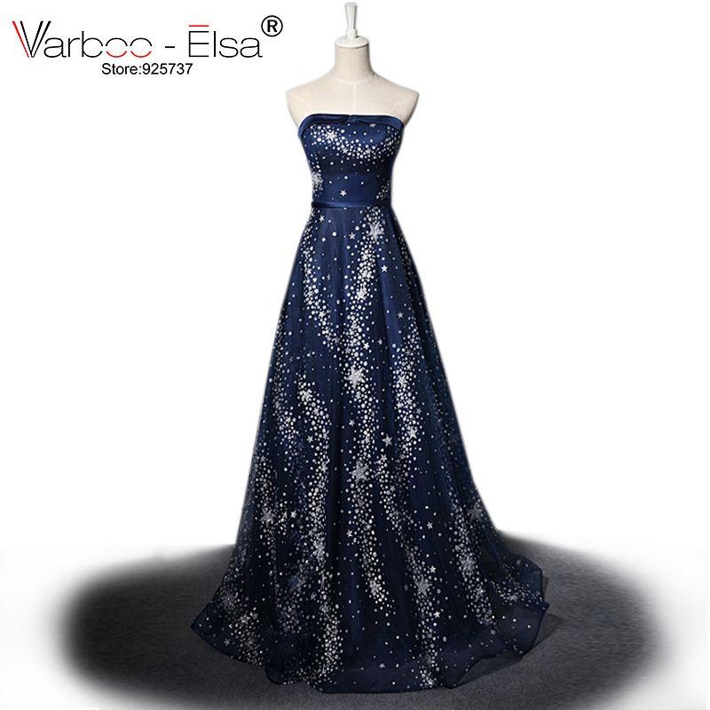 VARBOO_ELSA vestido de festa 2018 estrellas de lujo vestido de noche de cristal azul oscuro sexy largo sin tirantes de baile vestido de fiesta de brillo