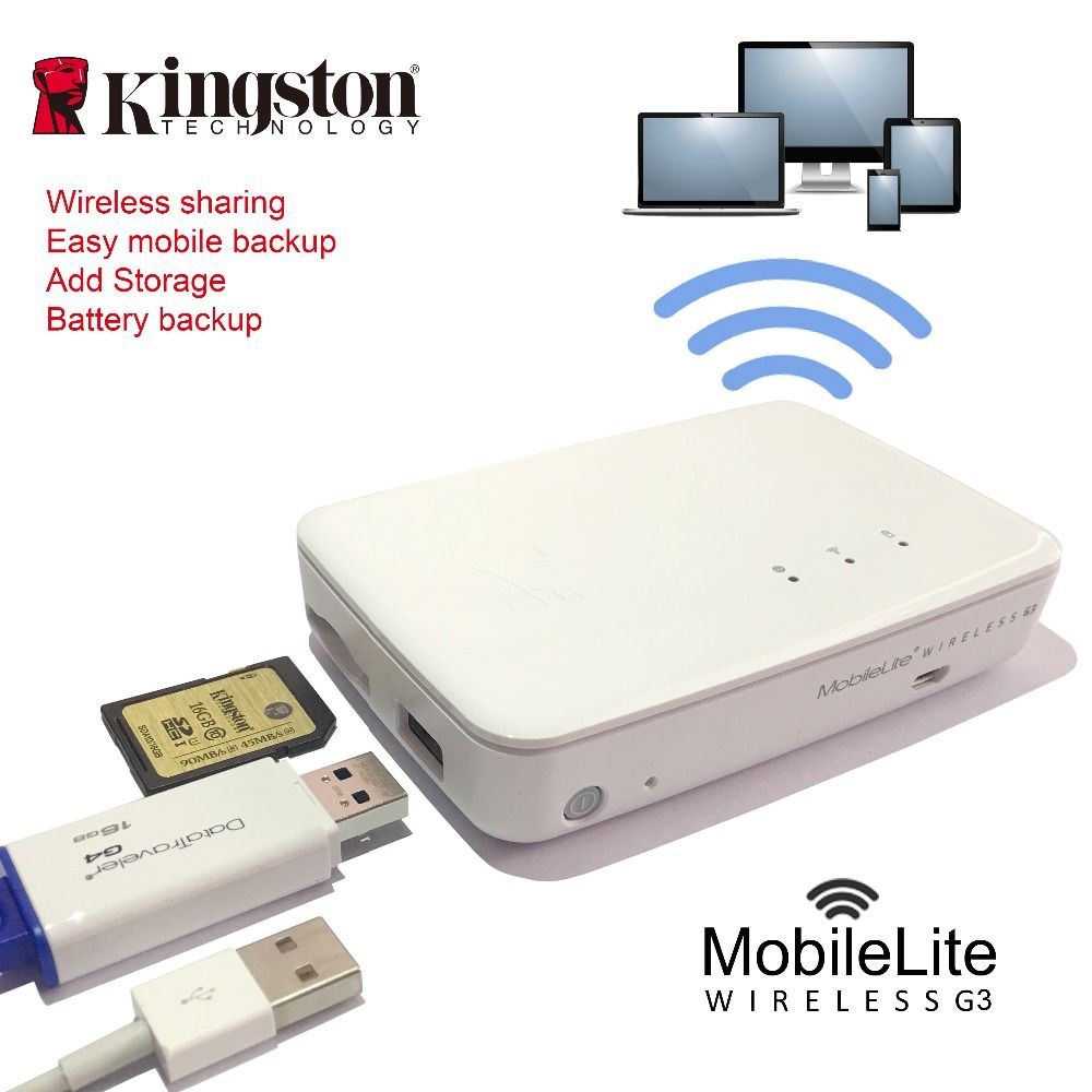 Kingston wireless card reader Multifunction wifi transmitter Wireless data sharing device It can be used as a mobile backup powe