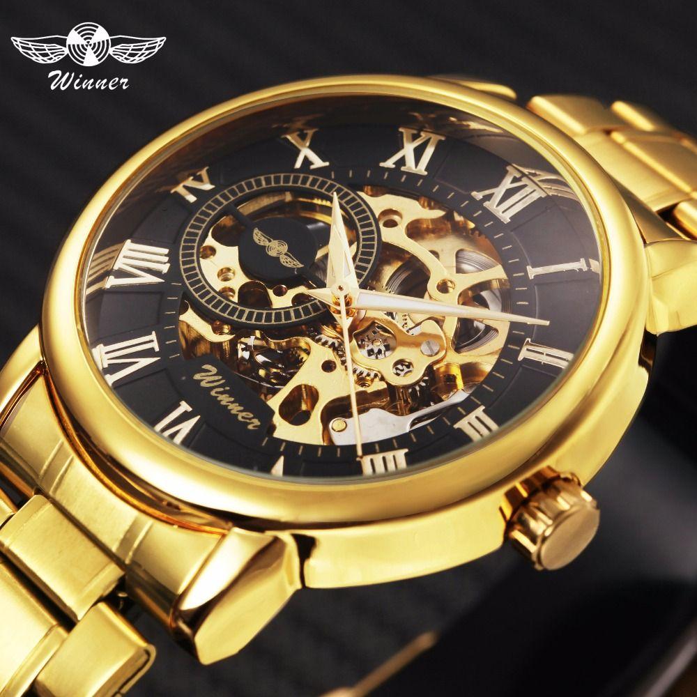 WINNER Classic Golden Skeleton Mechanical Watch Men Stainless Steel Strap Top Brand Luxury Man Watch Vip Drop Shipping Wholesale