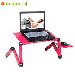 Actionclub 360 grados ajustable tabla del ordenador portátil plegable escritorio de la computadora en la cama Soportes para el portátil bandeja de escritorio con ventilador de refrigeración