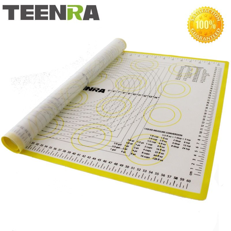 TEENRA 1PCS 66*46cm Non Stick Rolling Dough Mat Silicone Baking Mats And Liners Oven Silicone Pastry Mat Bakeware cozinha