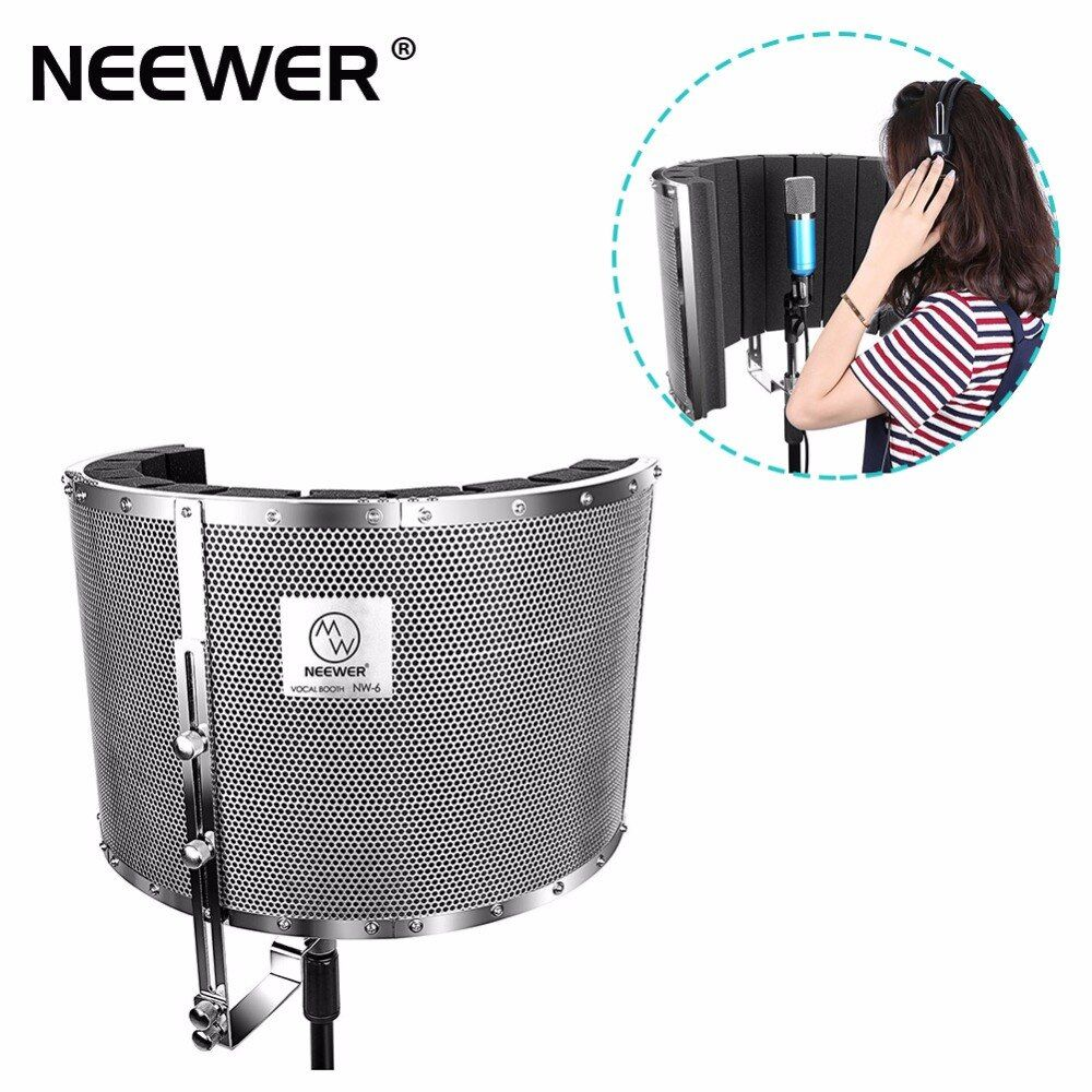 Neewer Microphone Isolation Shield Absorber Filter Lightweight Aluminum Panel, Thick Soundproofing Foams, Mic Stand 5/8