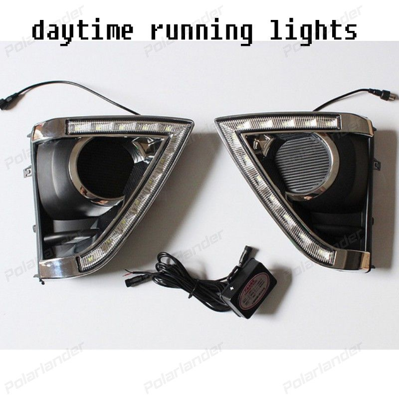 1 set auto part accessory CAR DRL Turn Signal style 12v LED daytime running lights fog lamp for Toyota Vios 2014-2015