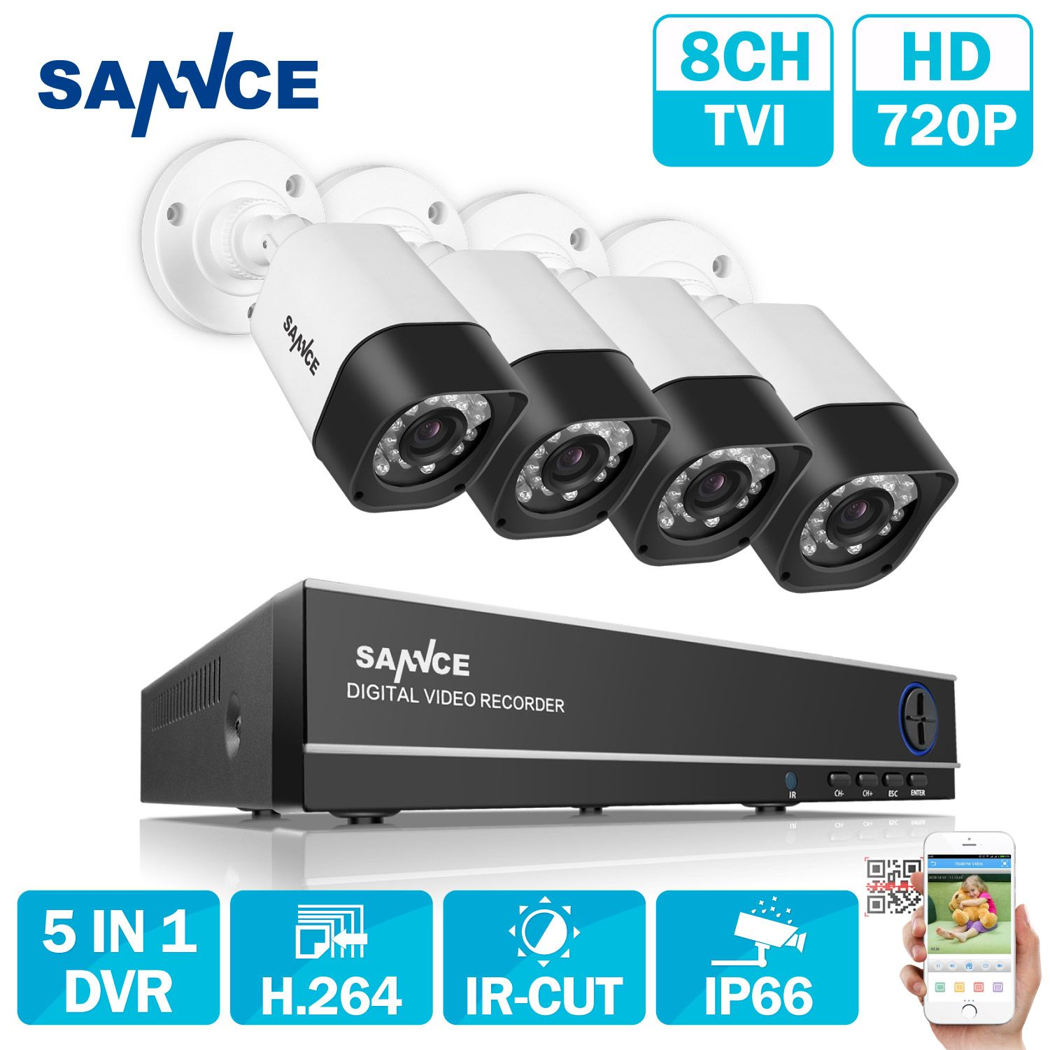 SANNCE 8CH AHD 5 IN 1 Security DVR System HDMI 1280*720 1200TVL AHD Weatherproof Outdoor CCTV Camera 1.0MP AHD Surveillance Kit