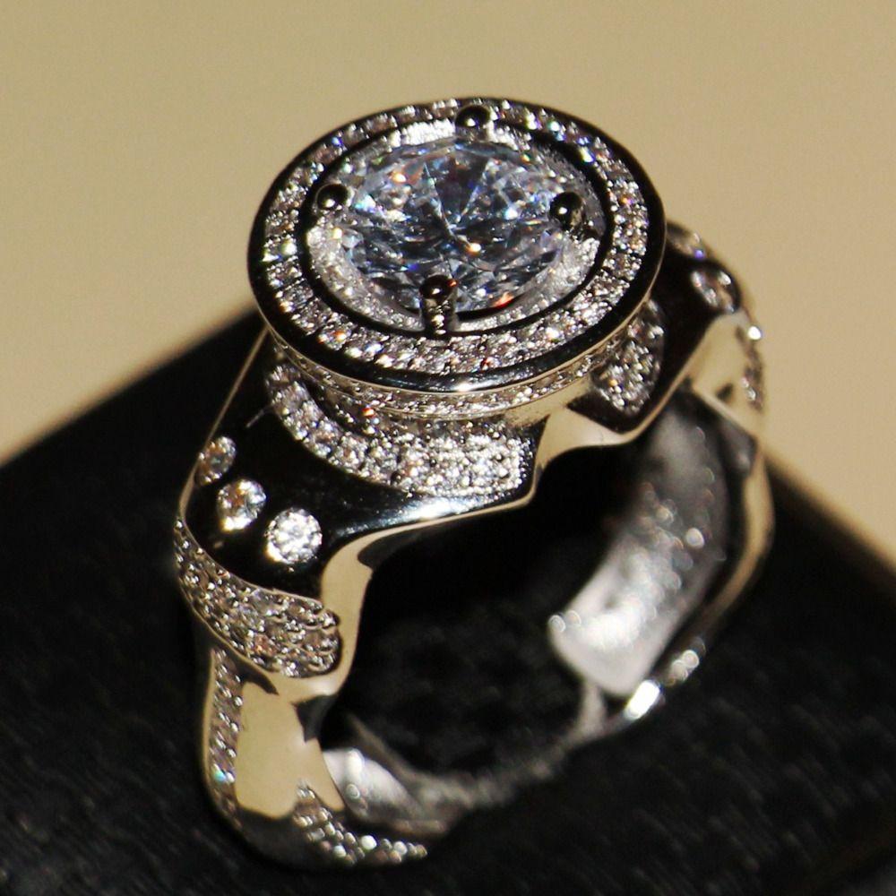 2016 neue Männer Modeschmuck 8,5mm Haupt Weißen AAA CZ Pflastern 925 Sterling silber Simulierte steine Hochzeits-band-ring-geschenk Größe 8-13