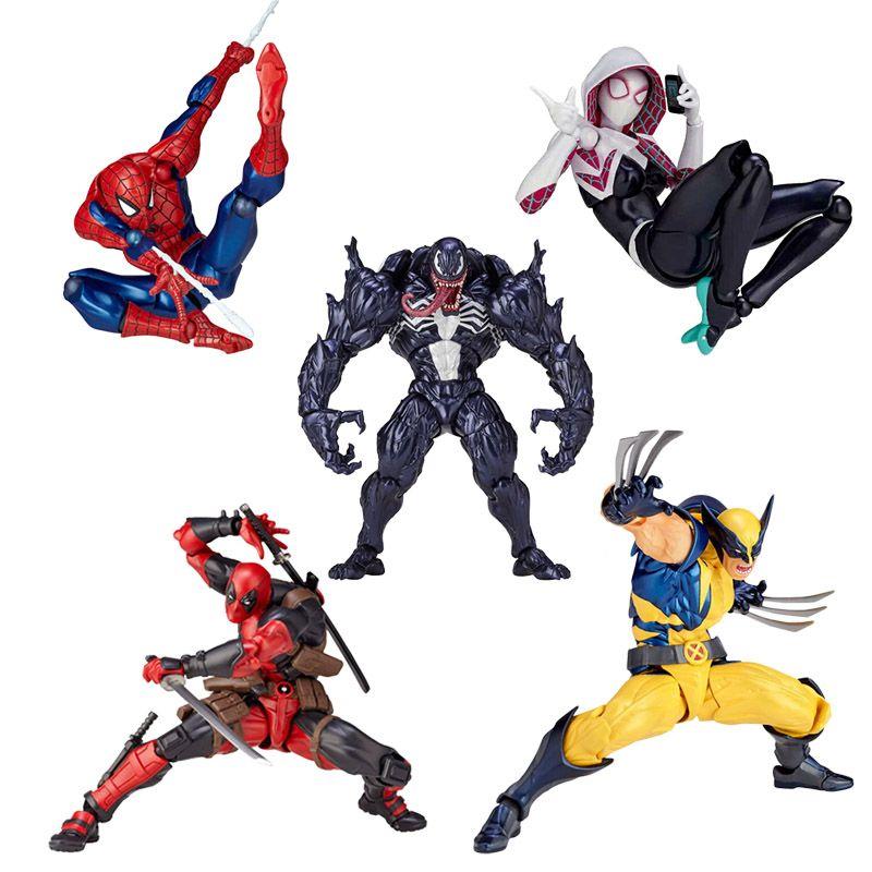 16 cm Univers Super Héros Deadpool Venom Spider man spider gwen iron man Magnéto Carnage Commune mouvement Action Figure jouets