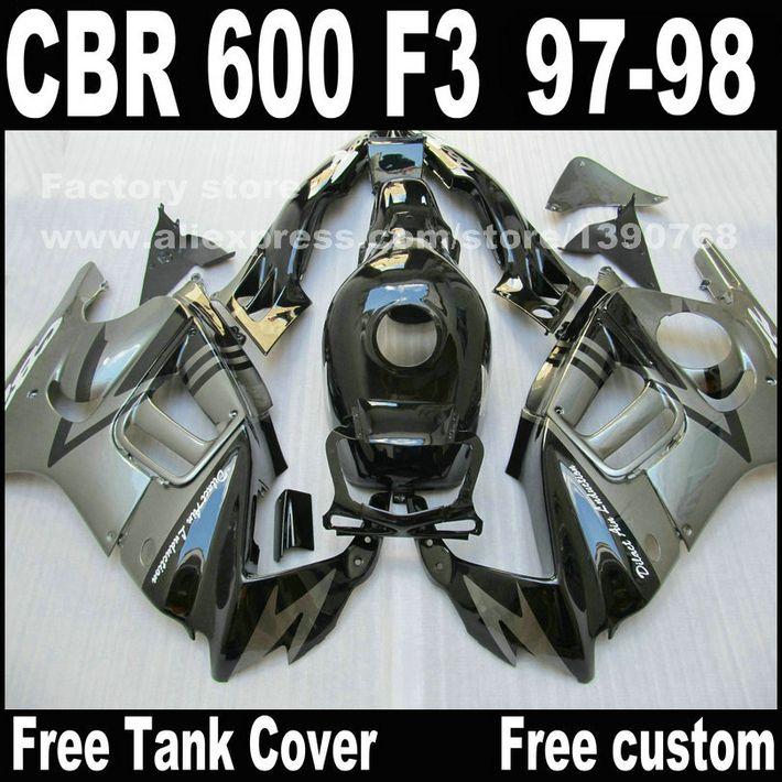 Motorrad teile für HONDA CBR 600 F3 verkleidungen 1997 1998 CBR600 F3 97 98 schwarz silber verkleidung kit + tankabdeckung S8