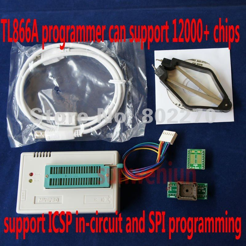 High speed USB MiniPro Programmer TL866A can ICSP SPI in-circuit program/support more than 12000 chips/support WIN7 64 bit