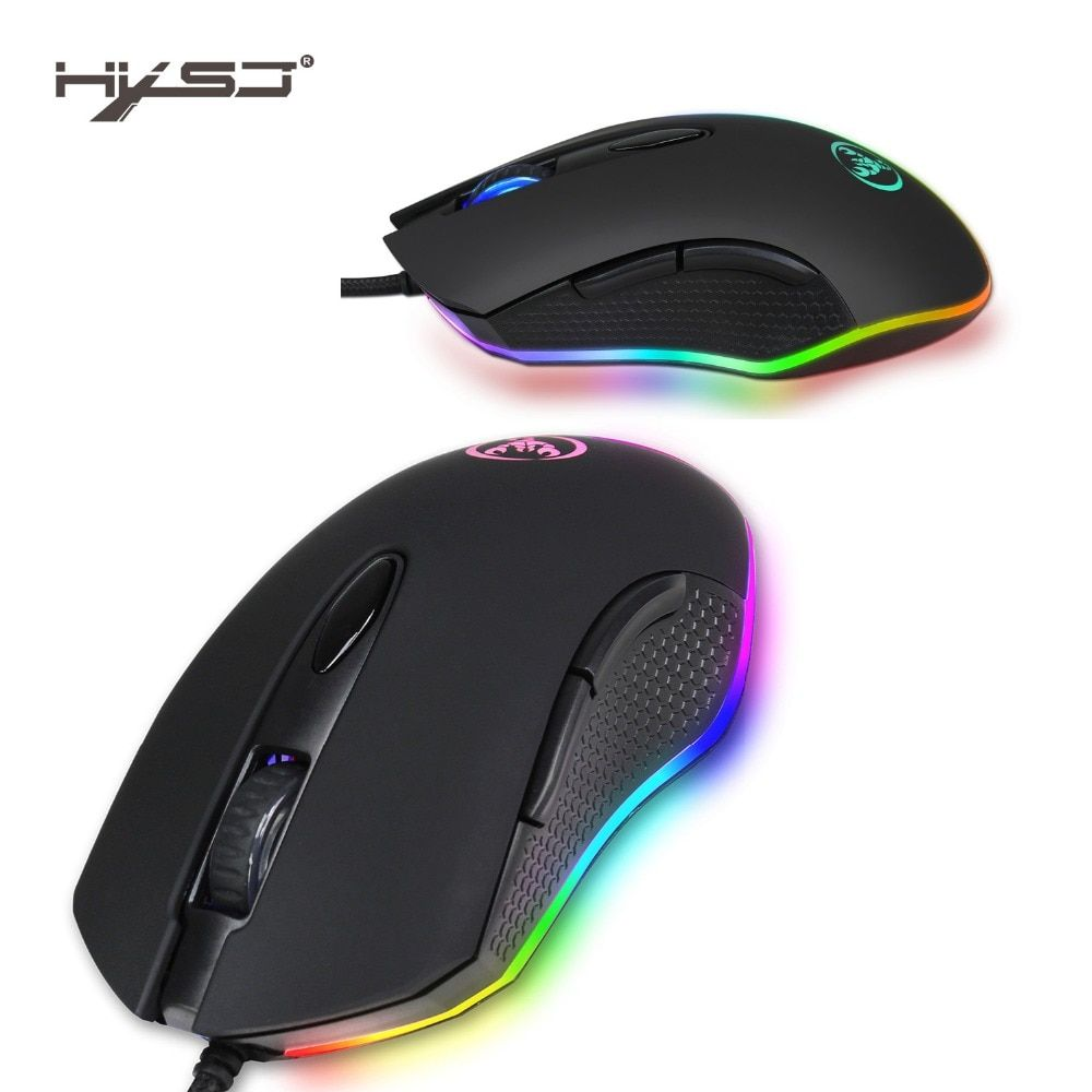 HXSJ S500 USB Mouse Gaming For Desktop 4800DPI 6 Buttons RGB Backlit Wired Computer Mouse Gamer For Office Laptop PC Notebook