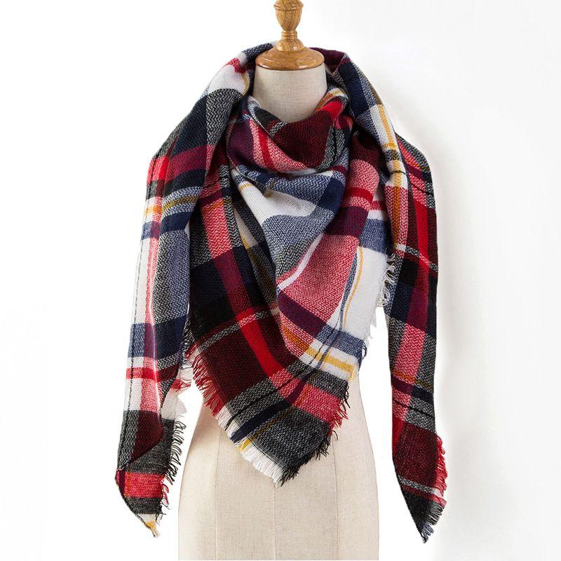 2018 Winter Scarf Women Cashmere Plaid Pashmina Scarf Luxury Brand Blanket Wraps Female Scarves and Shawls 140*140*210cm
