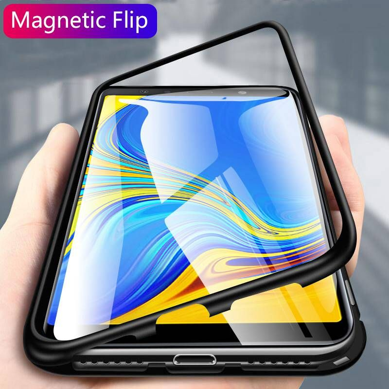 For Samsung Galaxy S9 S8 Plus Note 9 8 S7 Edge Magnetic Metal Case Clear Glass Case For Samsung A9S A7 A9 J6 2018 J6 Plus J4+