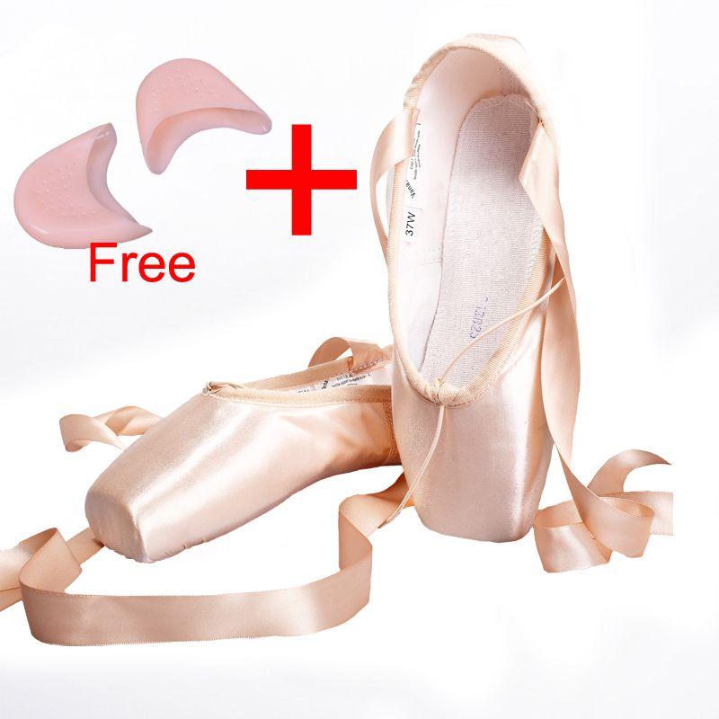 Атлас холст пуанты Обувь с лентой и гель для ног pad Обувь для девочек Для женщин Розовый Профессиональный Балетные костюмы для танцев с остр...