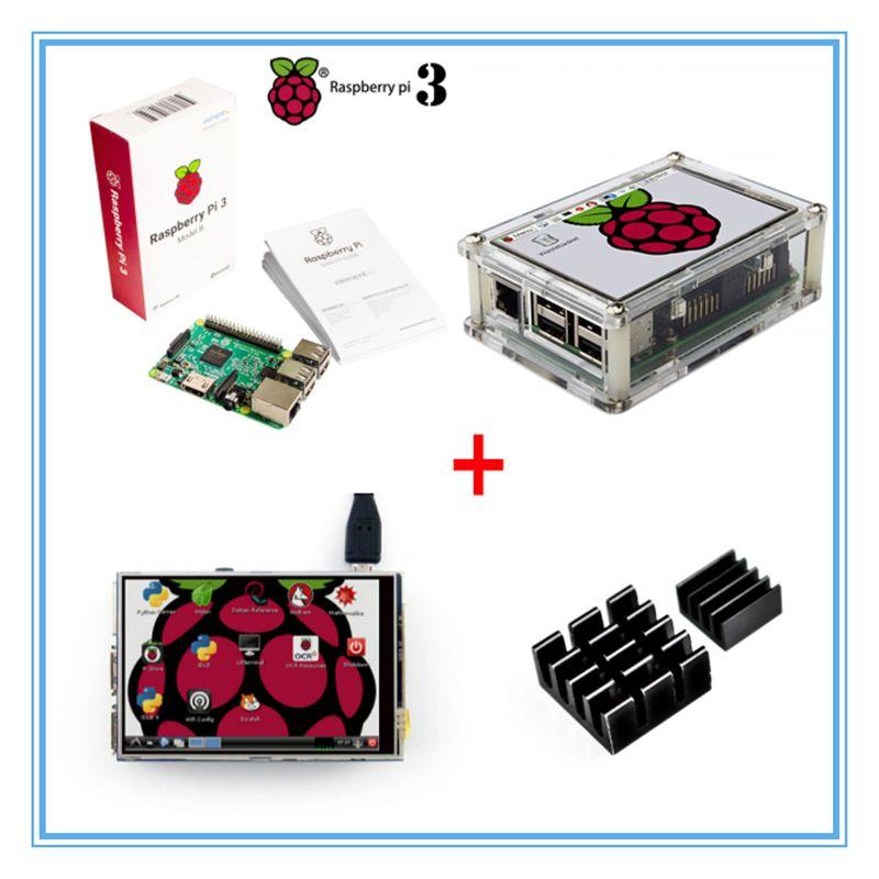 Raspberry Pi 3 Model B Board+New Version 3.5 Inch TFT LCD USB Touch Screen + Acrylic Case + Heat sinks For Raspberry Pi 3