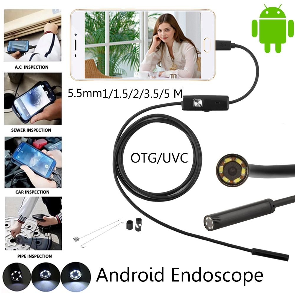 JCWHCAM 5.5mm Lens 1M 2M 3.5M 5M Android USB Endoscope Camera Flexible Snake USB Pipe Inspection Android Phone Borescope Camera