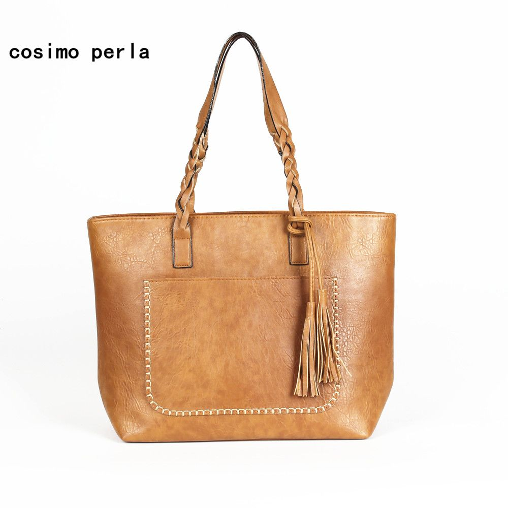 Tassel Women Shoulder Bags with Handle Leather Handbags Retro Causal Tote Luxury Designer Large Shopping Purses Drop Shipping