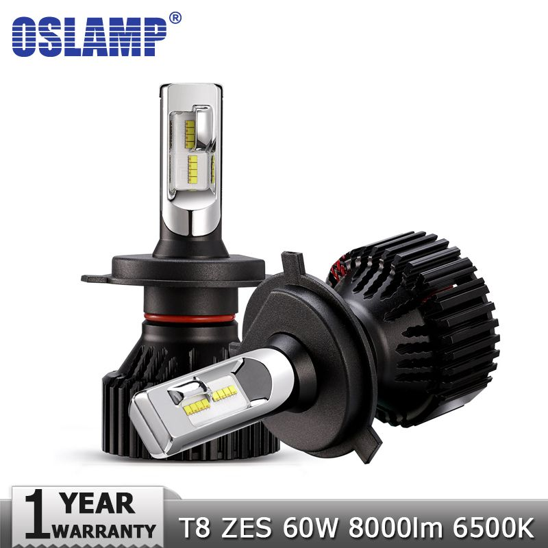 Oslamp H4 High Low Beam H7 H11 9005 9006 LED Car Headlight Bulbs 12v 24v ZES Chips 60W 8000LM Led Auto Headlamp Led Light 6500K