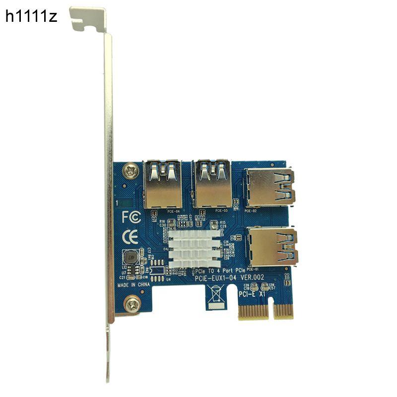 4 Slots PCI-E 1 to 4 PCI Express 16X Slot External PCIE Riser Card Adapter Board USB 3.0 Converter for BTC Miner <font><b>Mining</b></font> Machine