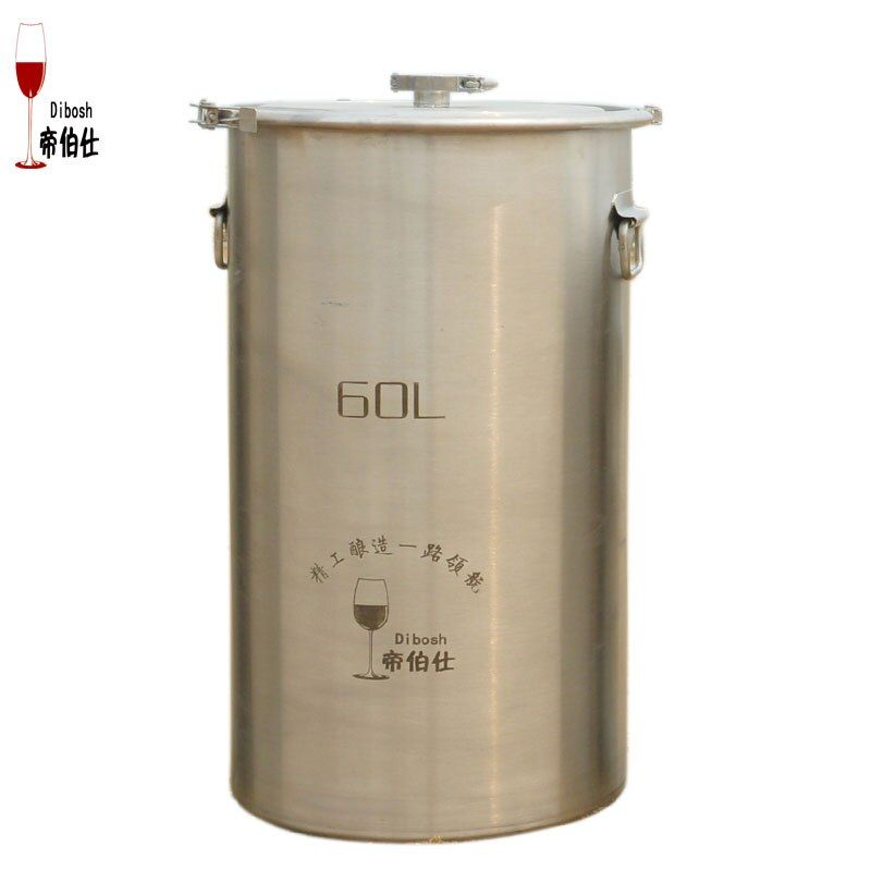 60L 304 Stainless Steel Bucket Home Brewing Fermentation Tank For Wine & Beer Fermenter With Anchor Ear Design Storage Container
