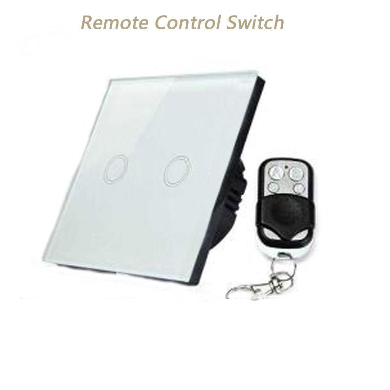 Gorelax Smart Touch Wall Light Switch,433Mhz Remote Control Light Switch,Smart Home 2 gang 110-240V Switch EU Standard