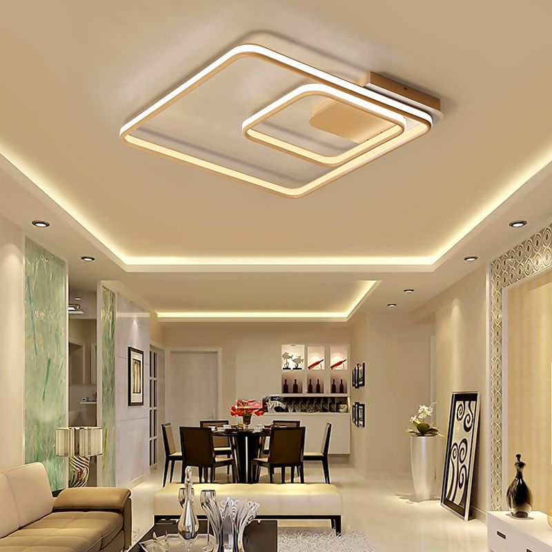 NEO Gleam Square Double Glow Living Room Bedroom Led Chandelier High Brightness Aluminum Modern Led Ceiling Chandeliers Fixtures