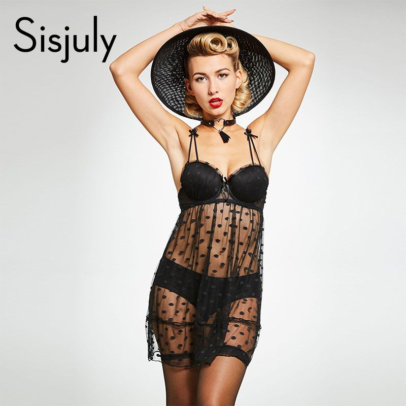 Sisjuly nightgowns women sexy lace polka dot evening sleepwears spaghetti strap sleeveless lady black nightgowns new arrival