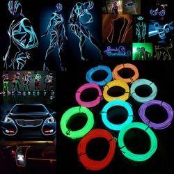 1 M/2 M/3 M/5 M Étanche LED Bande Lumière Néon de Lueur EL Fil Tube de câble Câble + Batterie Contrôleur Pour Party Décoration De Voiture
