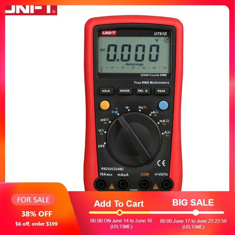 UNI-T UT61E haute fiabilité multimètre numérique PC connecter AC DC tension Relative Mode 22000 compte de données
