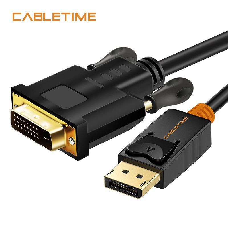 Port d'affichage de l'heure de câble vers DVI câble mâle vers mâle adaptateur de connexion DP vers DVI 1080P 3D pour projecteur PC HDTV N080