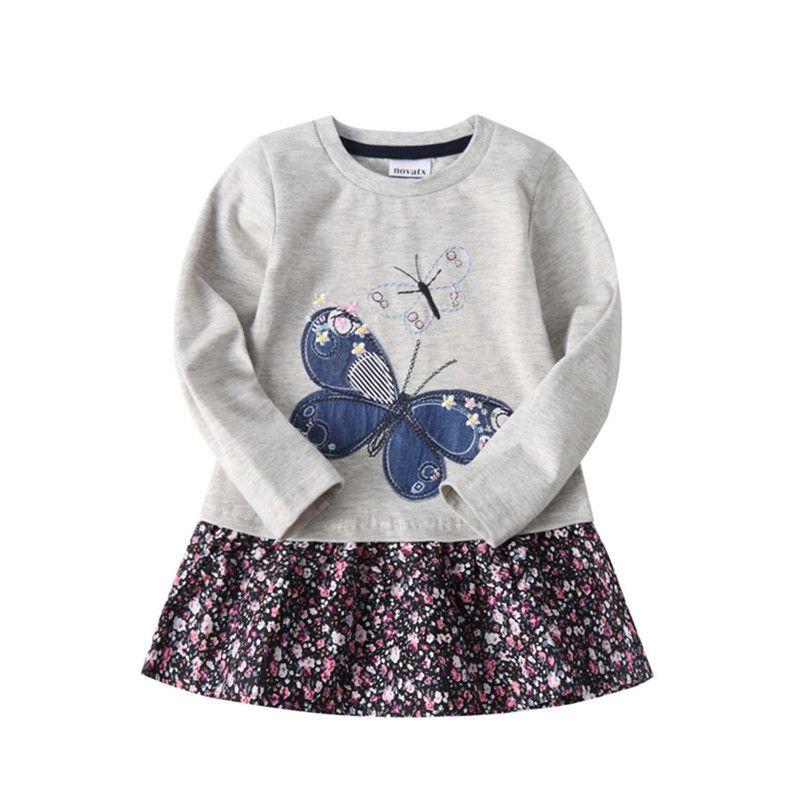 Novatx H5460 filles robe enfants vêtements papillon enfants robes filles nova bébé vêtements automne enfants portent enfant fille robes