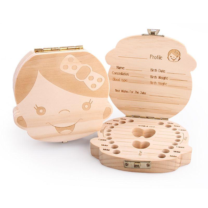Free Shipping Baby Tooth Box Organizer Lanugo Hair Save Box English and Spanish Text Pine Wood Kids Souvenir Boy Girl Gift