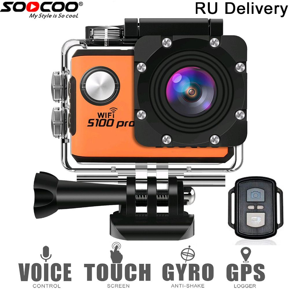 RU Local Delivery: SOOCOO S100Pro 4K Touchscreen Action Camera Voice Control Waterproof DV Camcorder Video Cam 20MP