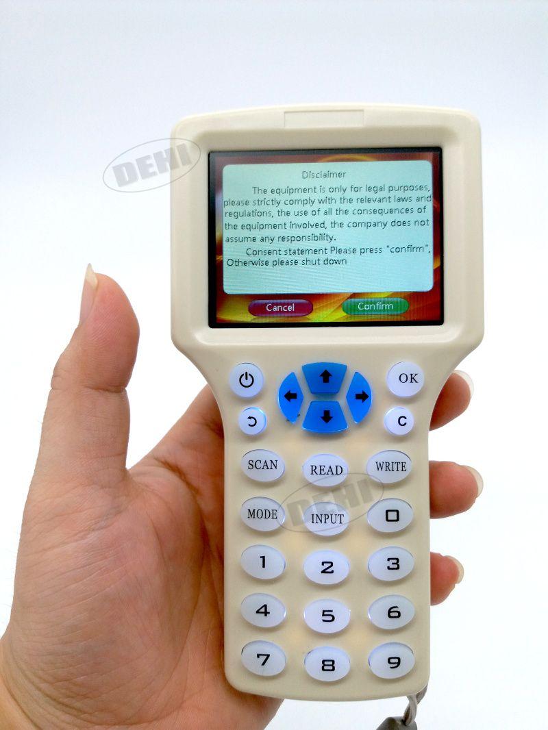 Englisch Rfid NFC Copier Leser Schriftsteller Cloner Kopie 10 Frequenz programmierer + 5 Stücke 125 khz EM4305 Keyfobs + 5 Stücke 13,56 mhz UID schlüssel