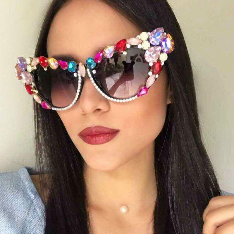 2018 Oversize Cat Eye Sunglasses Women Brand Designer Luxury <font><b>Crystal</b></font> Sexy Sun Glasses For Ladies Oculos De Sol Feminino