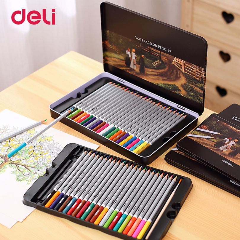 Deli Professional color Pencils Set for Drawing 48 Colors Painting Sketch Tin Box Art School artist Supplies colour pencil