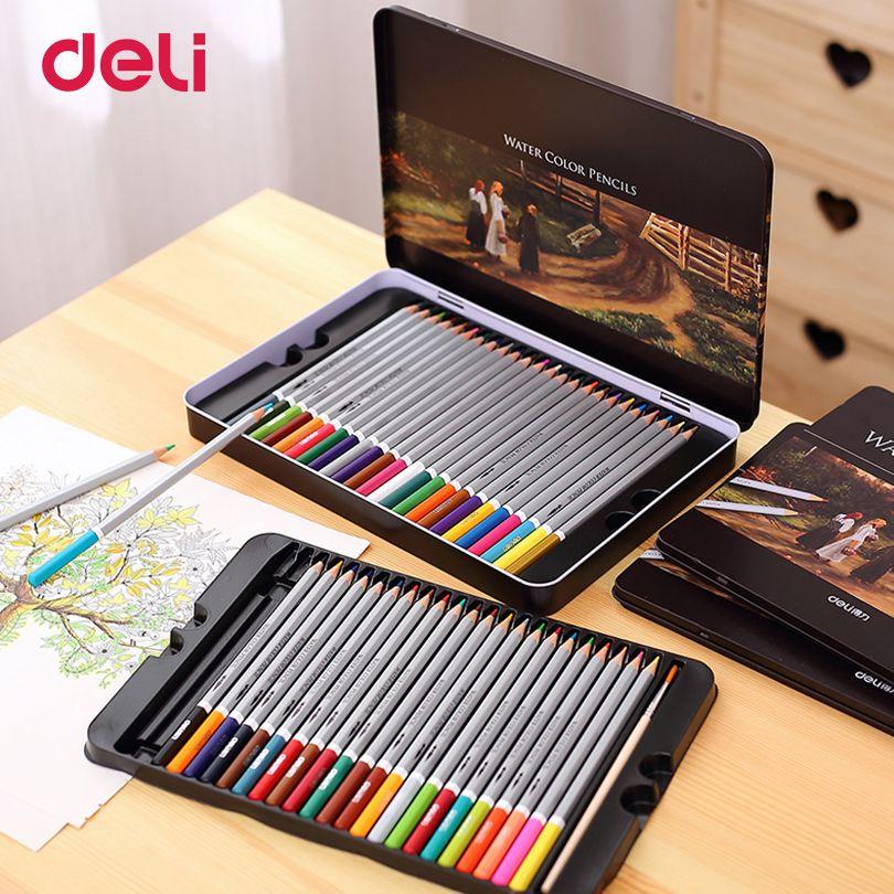 Deli Professional <font><b>color</b></font> Pencils Set for Drawing 36/48/72 <font><b>Colors</b></font> Painting Sketch Tin Box Art School artist Supplies colour pencil