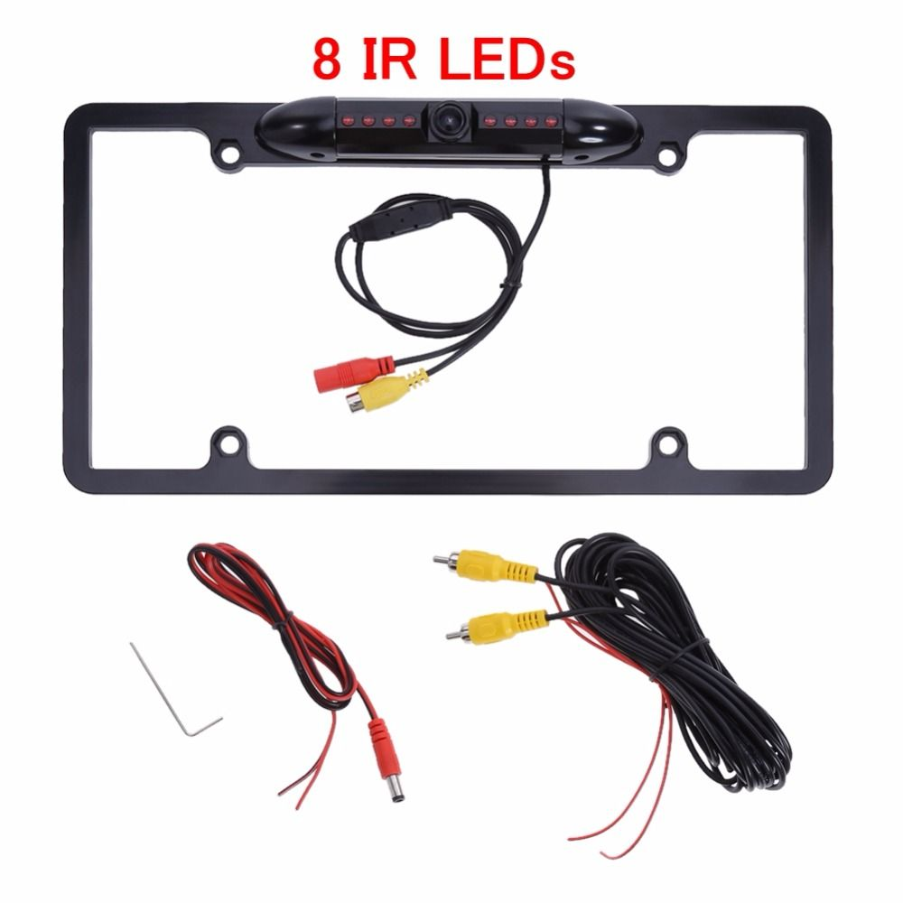 Metal Car Number License Plate Frame Holder Rear View Backup Camera US/Canada Auto CMOS Rearview 8 LEDs IR Night Vision Cam
