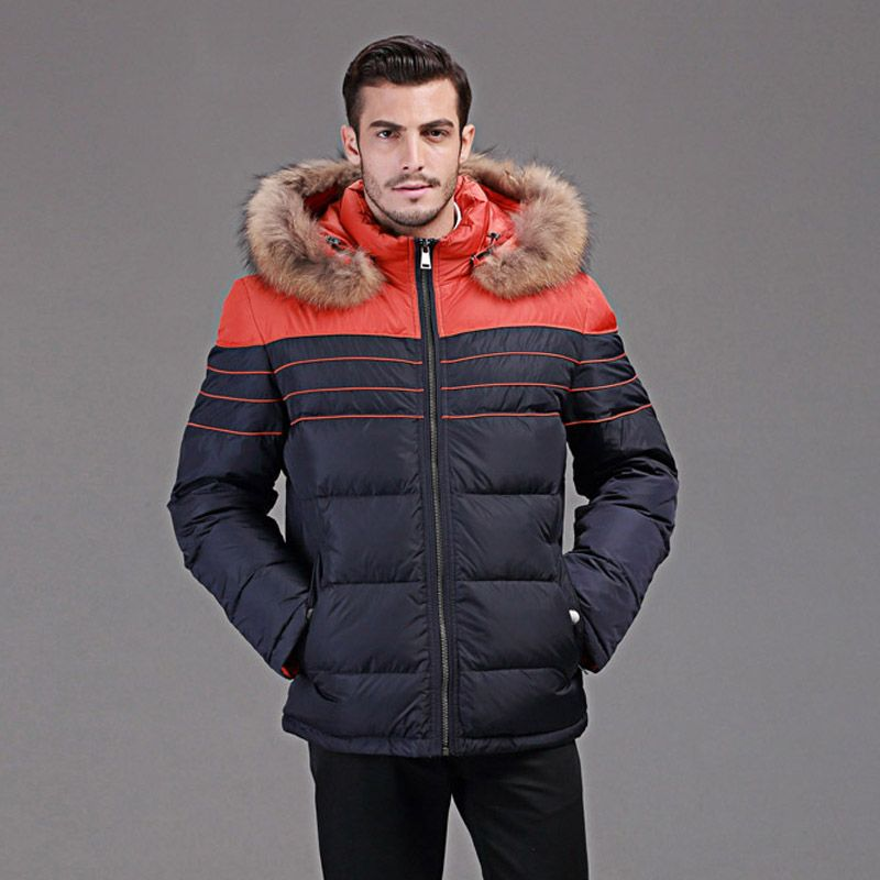 winter down jacket men Europe and USA minus 40 degrees warm duck down jacket Really raccoon fur collar coat size 46-54 Q109