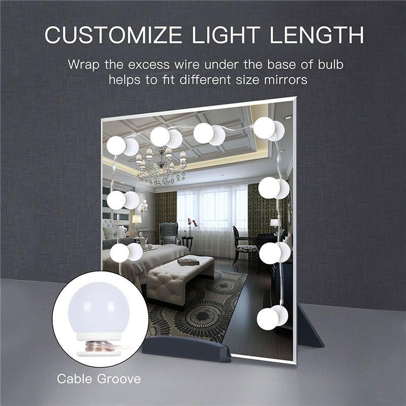 WRUMAVA LED photography studio Light box Makeup Mirror Vanity Bulb Kit USB Charging Port Adjustable <font><b>Brightness</b></font> Comestic Lamp