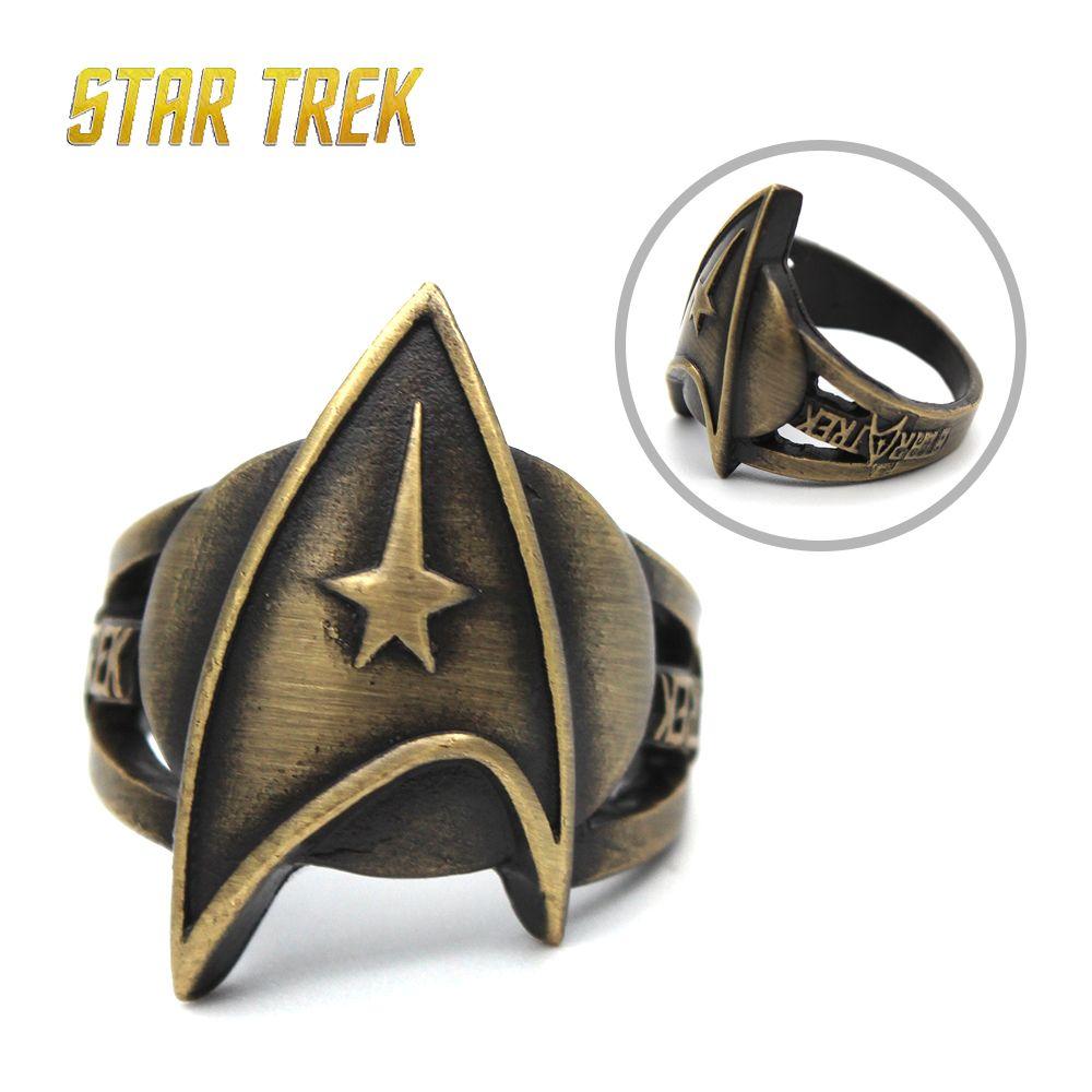 Star Trek Captain Kirk Spock Starfleet Befehl Division Insignia Symbol Bronze Metall Ring Schmuck Ornament Cosplay Sammlung