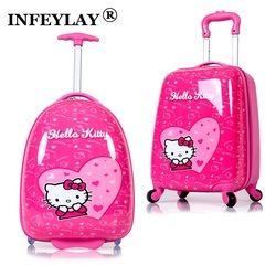 HOT anime fille bagages enfant roulant valise bonjour kitty bande dessinée 16/18 pouces étudiants Voyage trolley enfants D'embarquement boîte