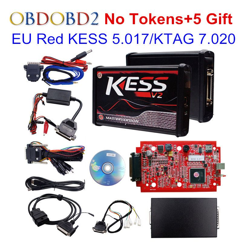100% No Tokens RED KESS V2 V5.017 V2.23 ECU Chip Tuning EU Master Online KESS 5.017 KTAG 7.020 Manager Tuning Kit For Car Truck