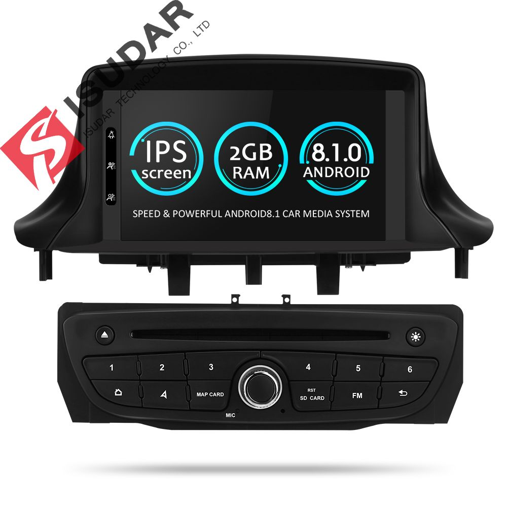 Isudar Car Multimedia player Two Din Android 8.1 Automotivo DVD Player For Renault/Megane 3 Fluence Radio FM GSP 4 Core RAM 2G