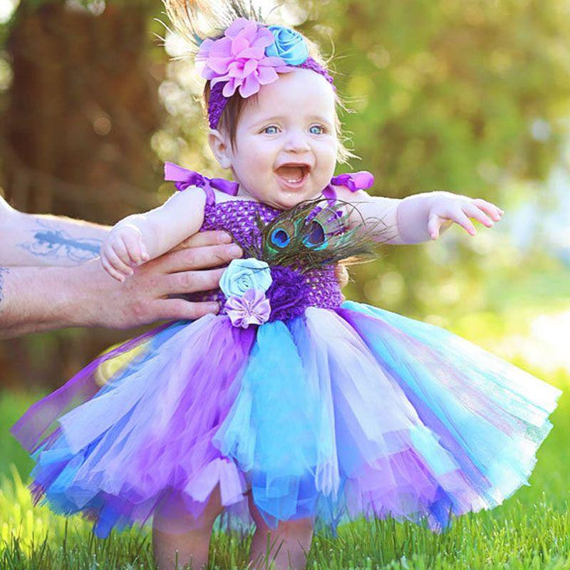 Filles arc-en-ciel fée Tutu robe moelleux bébé robe avec bandeau correspondant enfant en bas âge Halloween anniversaire Photo Costume TS125