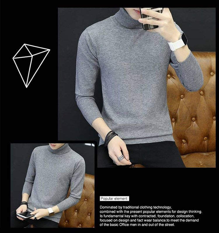 The new winter 2019 cultivate one's morality round collar knitwear fashion men's clothing of pure color coat